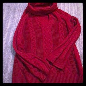 Key hole sweater with cowl neck